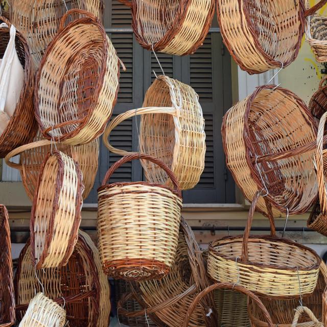 """""""wicker weave baskets"""" stock image"""
