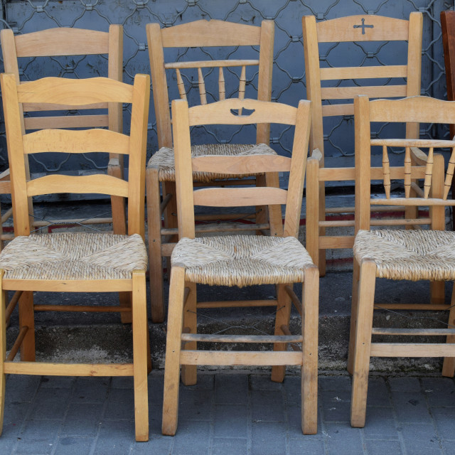 """""""wooden wicker chairs"""" stock image"""