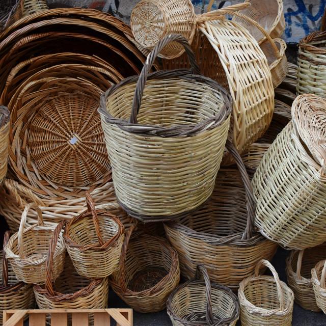 """""""woven wicker baskets"""" stock image"""