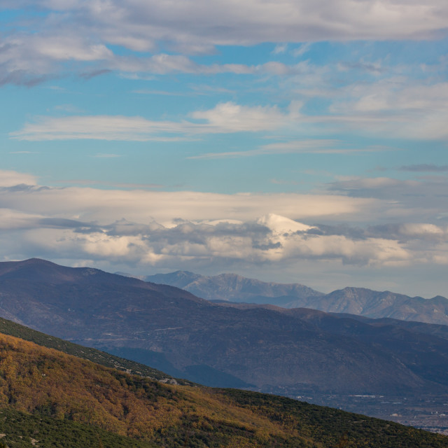"""""""Sky and mountains, autumn in Northern Greece"""" stock image"""