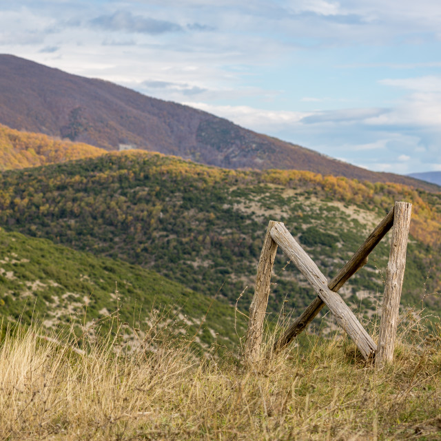 """""""Mountain wooden fence, autumn in Northern Greece"""" stock image"""