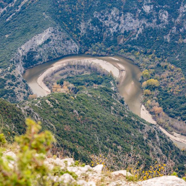 """Aerial view of river Nestos, Xanthi, Greece"" stock image"