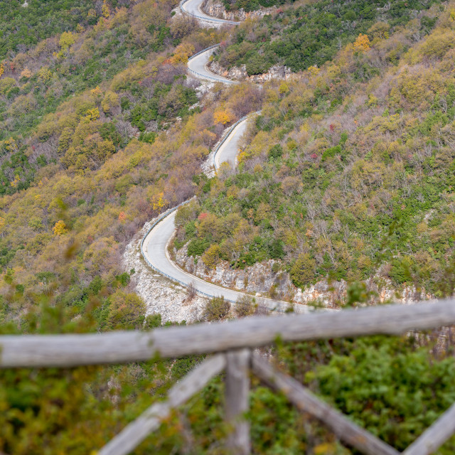"""""""Curvy mountain empty road in Greece"""" stock image"""