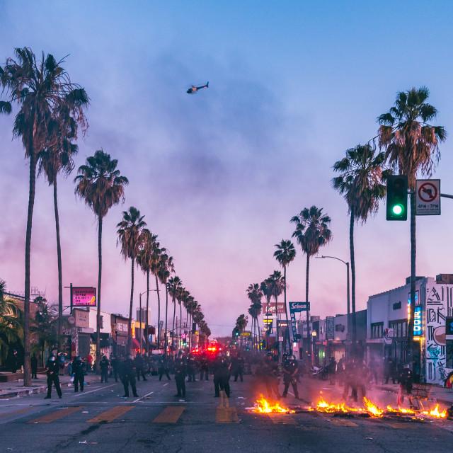 """Los Angeles Riots, Fairfax Ave May 30th 2020"" stock image"