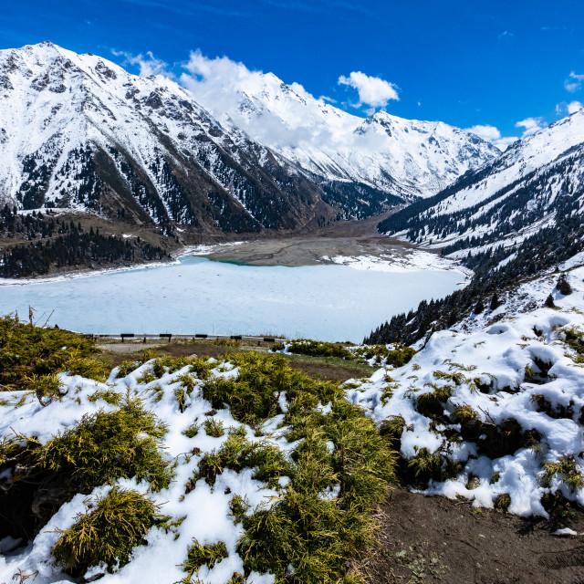 """""""mountain lake in spring"""" stock image"""