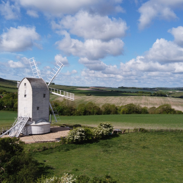 """Ashcombe windmill near Lewes in East Sussex."" stock image"