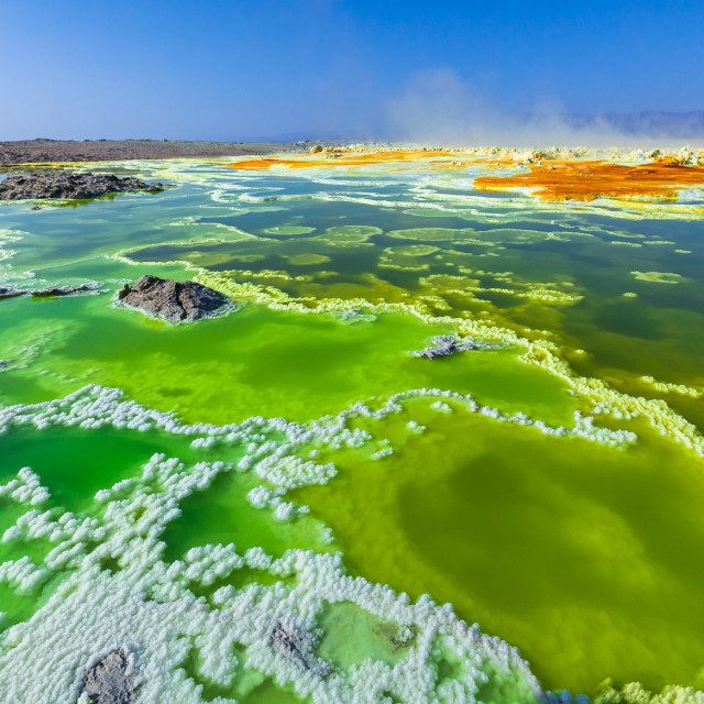 """Sulfur volcano lake"" stock image"