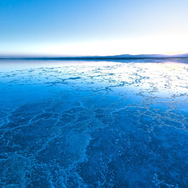 """sunset over salt flats"" stock image"