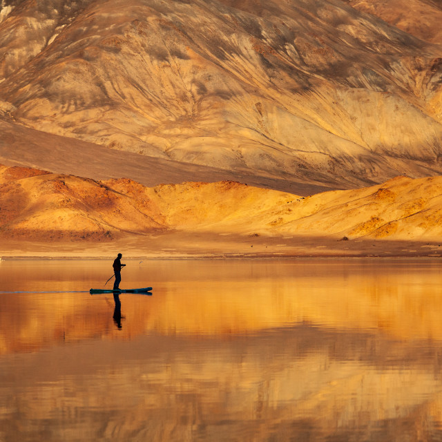 """Golden Sunset lake"" stock image"