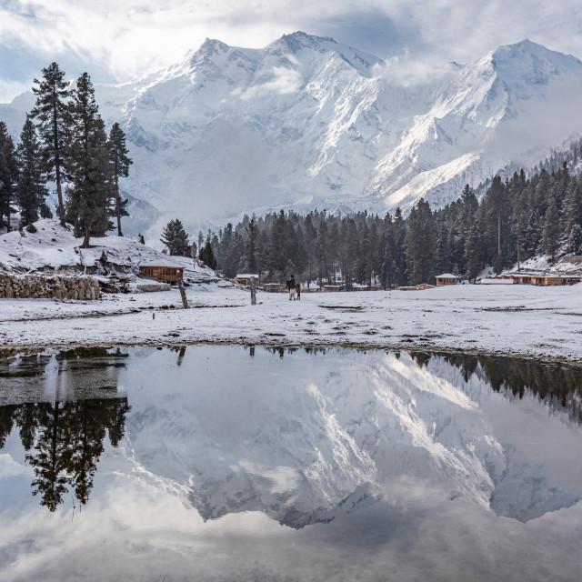 """""""Nanga parbat mountain reflection in lake"""" stock image"""