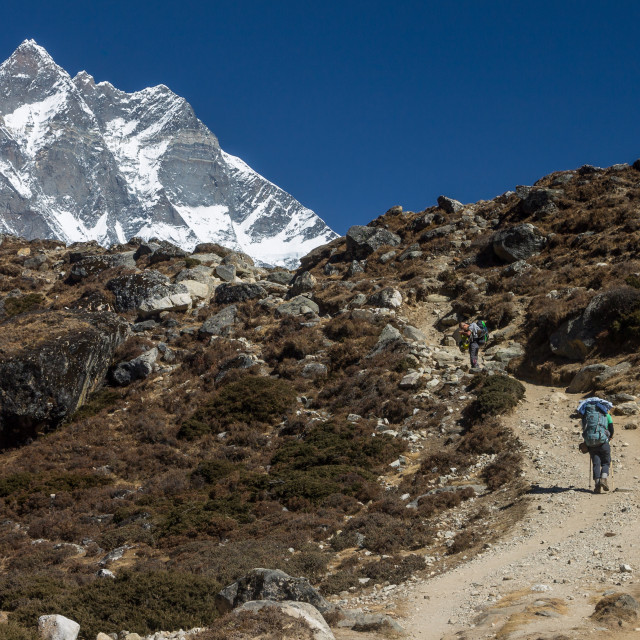 """Approaching Dingboche in Khumbu"" stock image"