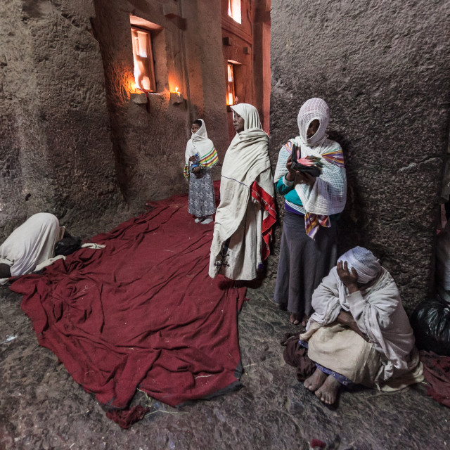 """Pilgrims in Lalibela church"" stock image"
