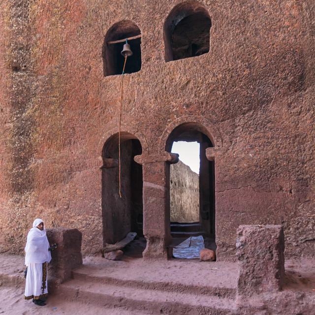 """Pilgrim in Lalibela church"" stock image"