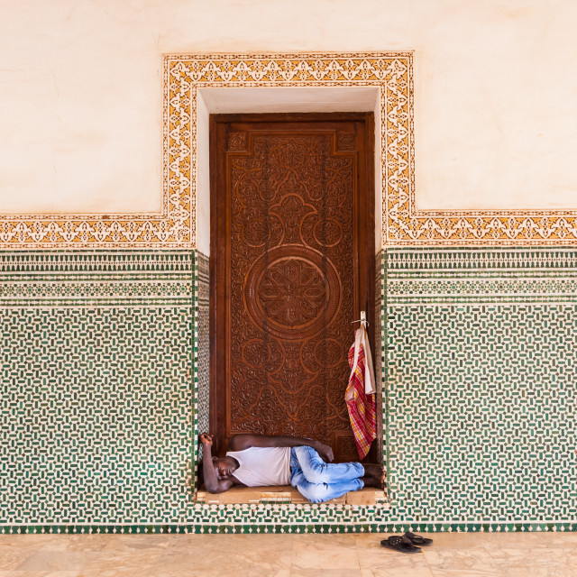 """Homeless sleeping in a doorway"" stock image"