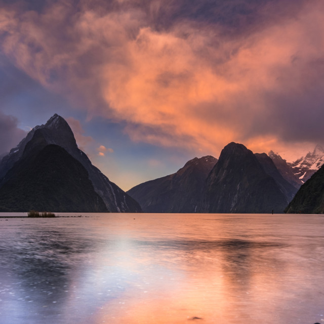 """Firey Sunset at Milford Sound"" stock image"