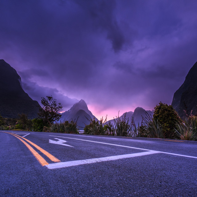 """Sunset at Milford Sound Car Park"" stock image"