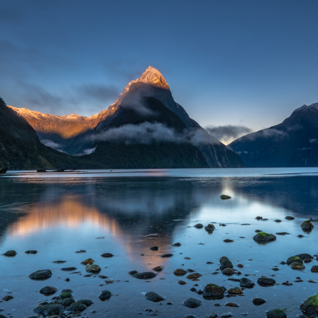 """Sunrise at Milford Sound"" stock image"