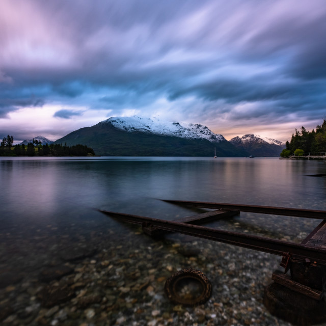 """Sunset at Queenstown Boat Ramp"" stock image"