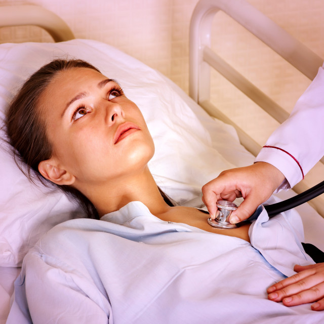 """Coronavirus pneumonia sars diagnosis to young woman patient at hospital"" stock image"