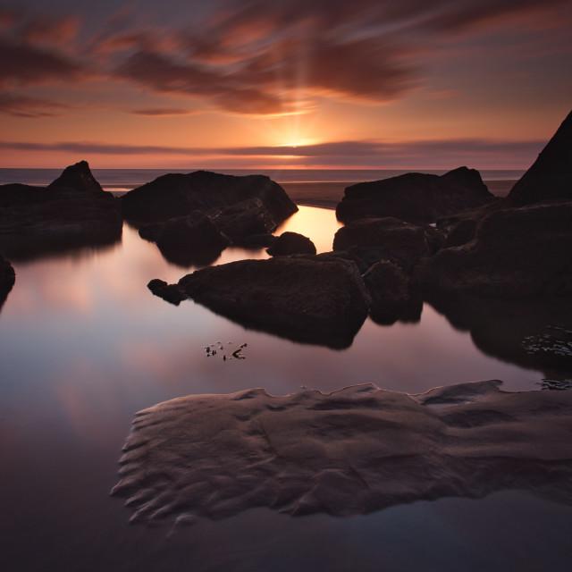 """Northcott mouth beach, Cornwall."" stock image"
