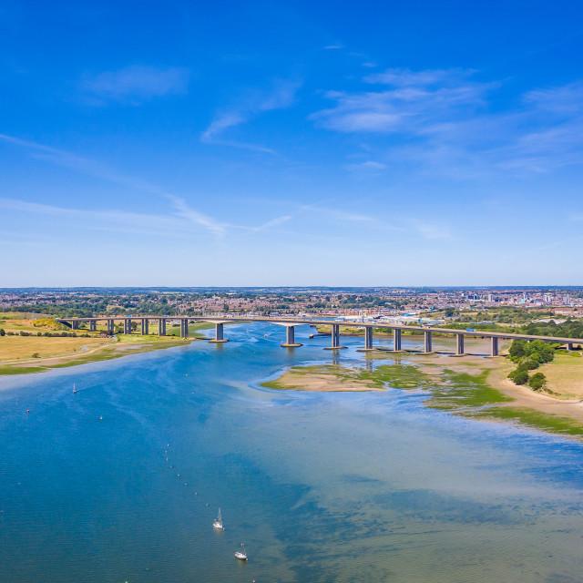 """Orwell Bridge, Ipswich"" stock image"