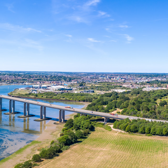 """""""The Orwell bridge and A14"""" stock image"""