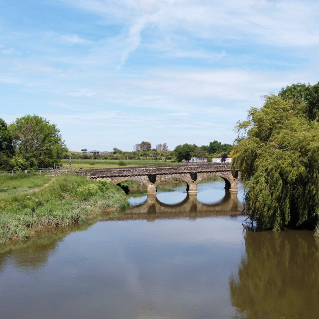 """Houghton bridge over the River Arun."" stock image"