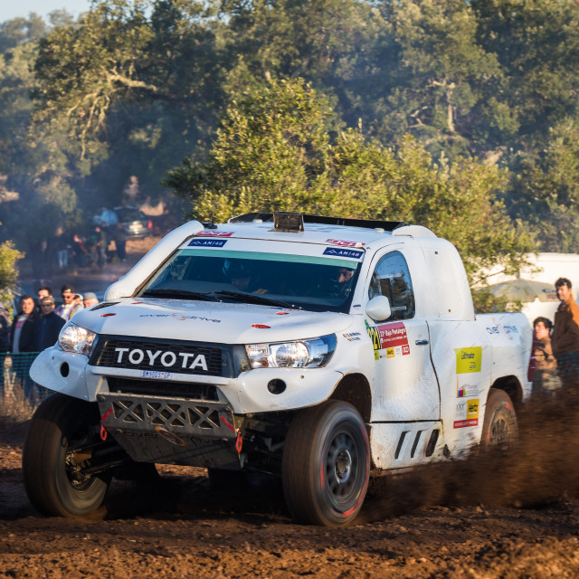 """A Toyota Hilux Overdrive off-road car during the Baja TT Portalegre 500 2019"" stock image"