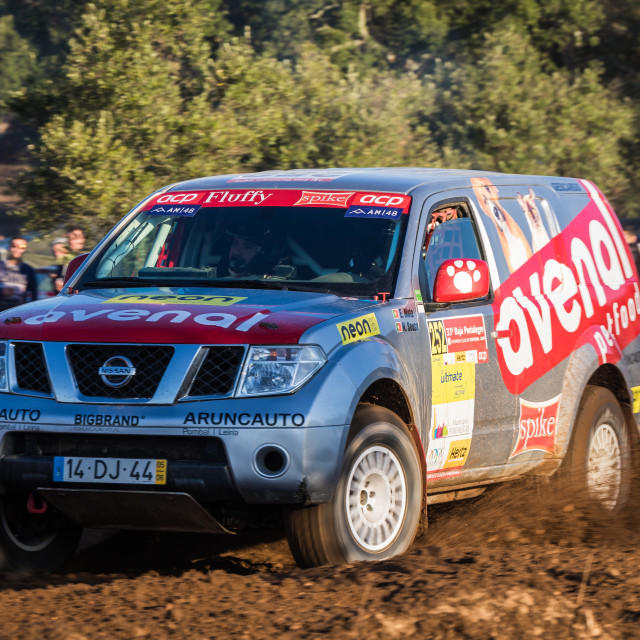 """A Nissan Pathfinder off-road car during the Baja TT Portalegre 500 2019"" stock image"