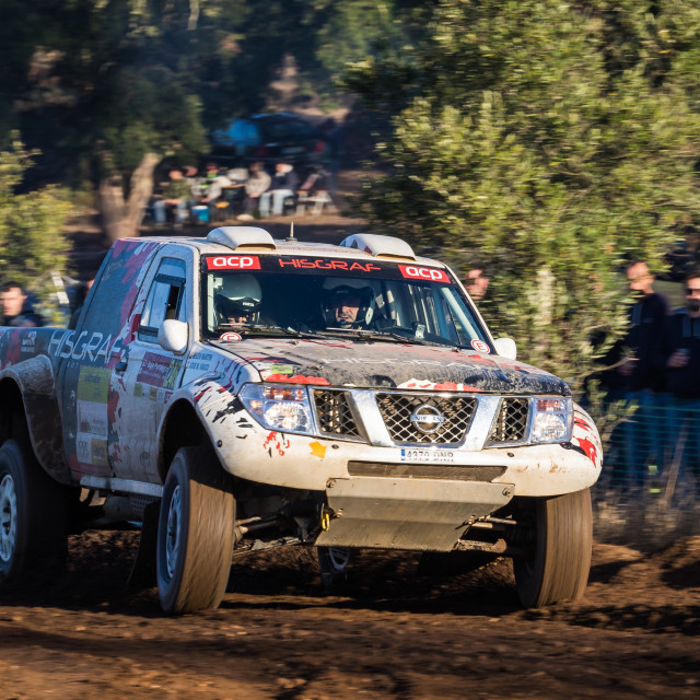 """A Nissan Navara off-road car during the Baja TT Portalegre 500 2019"" stock image"