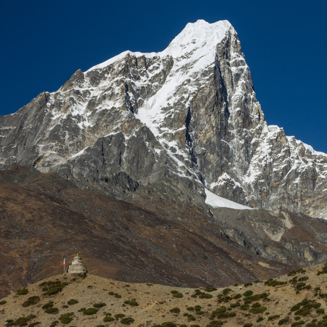 """Taboche seen from Dingboche"" stock image"