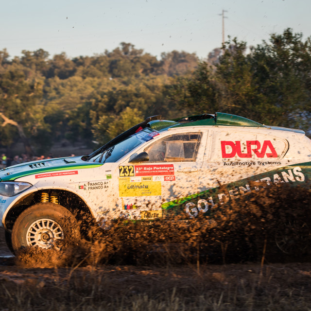 """A BMW Evo X1 off-road car during the Baja TT Portalegre 500 2019"" stock image"