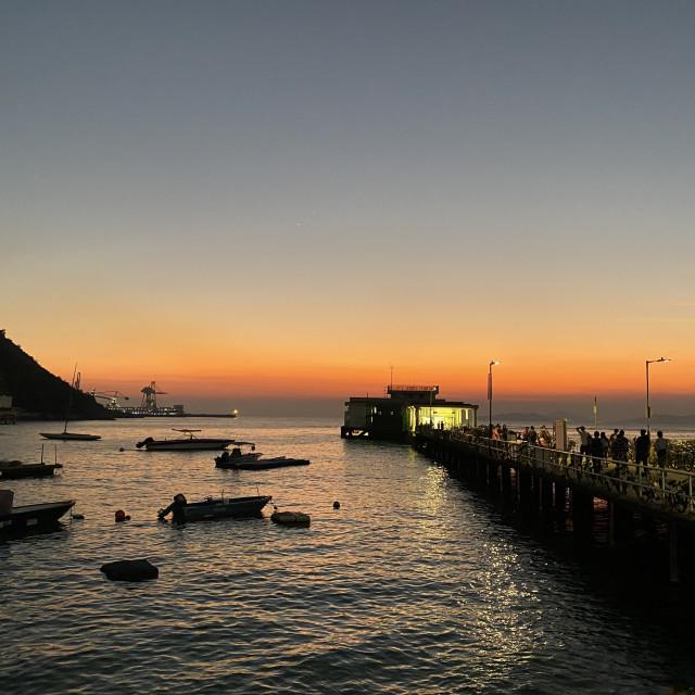 """""""Yung Shue Wan pier at sunset"""" stock image"""