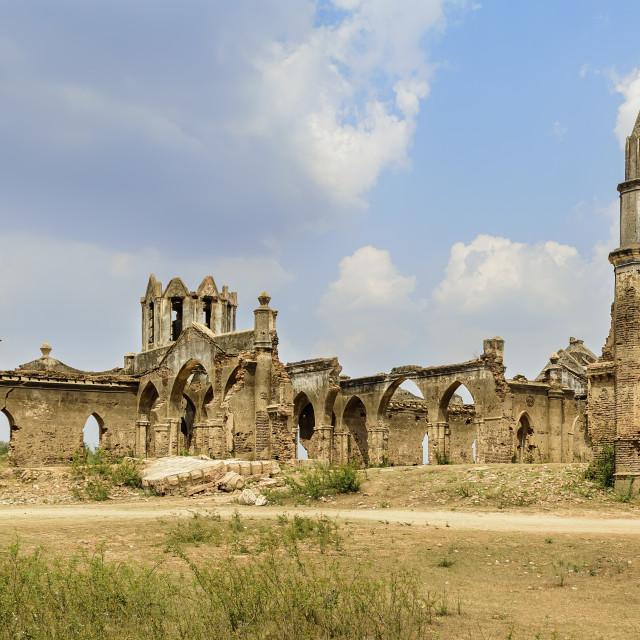 """Ruins of old French Rosary church, Settihalli, Karnataka"" stock image"