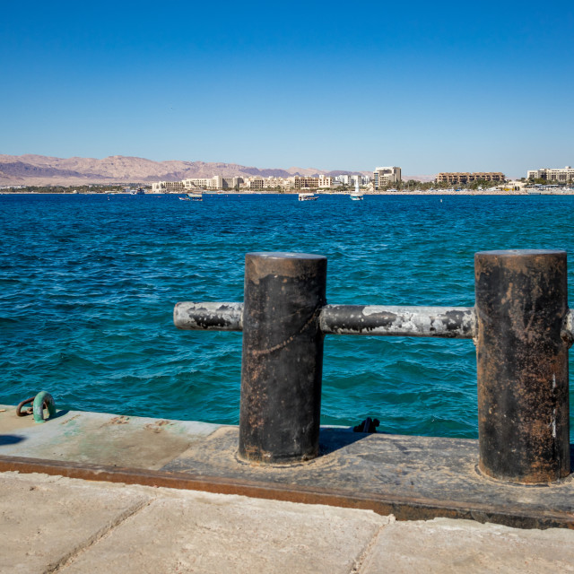 """""""Gulf of Aqaba as seen from the port, Jordan"""" stock image"""