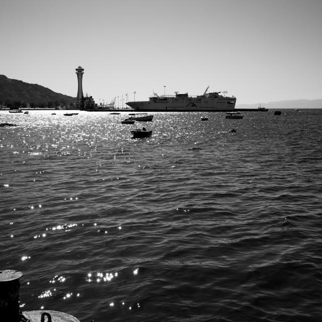 """""""Contre-jour of Aqaba industrial port, Jordan"""" stock image"""