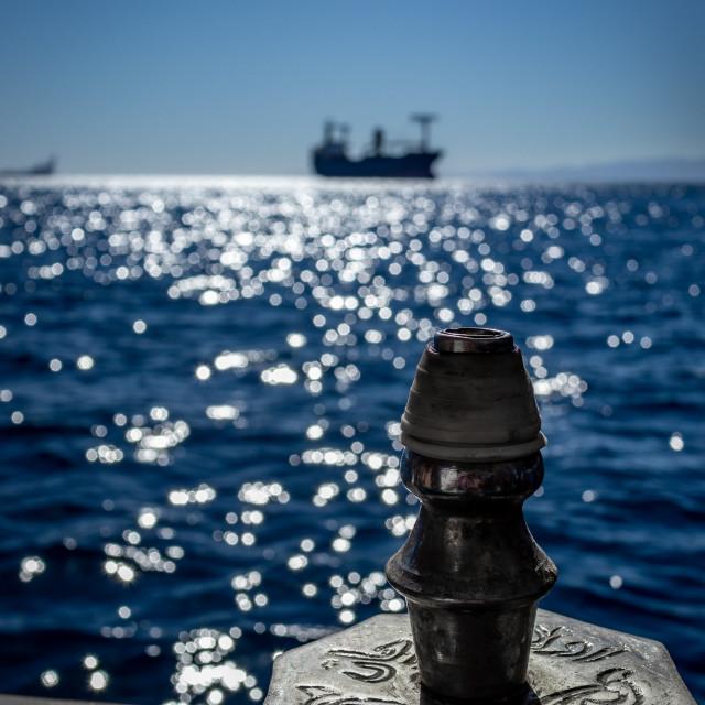 """Hookah, blue Red Sea and sun light"" stock image"