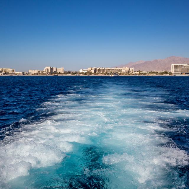 """Gulf of Aqaba as seen from tourist boat, Jordan"" stock image"