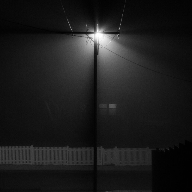 """""""Foggy Night and Picket Fence"""" stock image"""