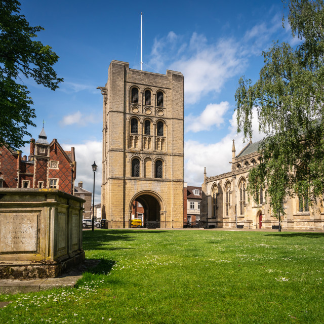 """""""Norman Tower in Bury St Edmunds market town"""" stock image"""
