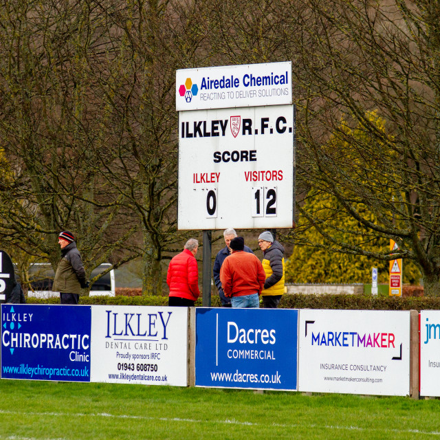 """""""Ilkley RUFC vs Blaydon RFC, 14/03/2020"""" stock image"""