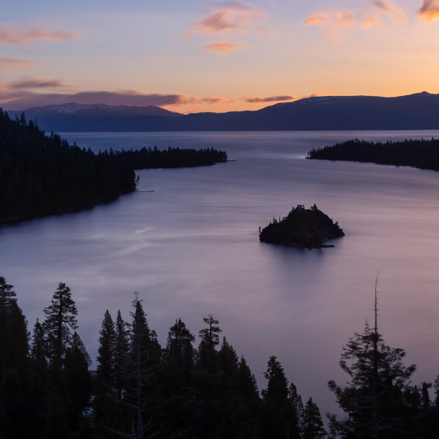 """""""Sunrise at Emerald Bay and Fannette Island"""" stock image"""