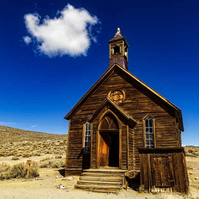 """Wooden Church in Bodie"" stock image"