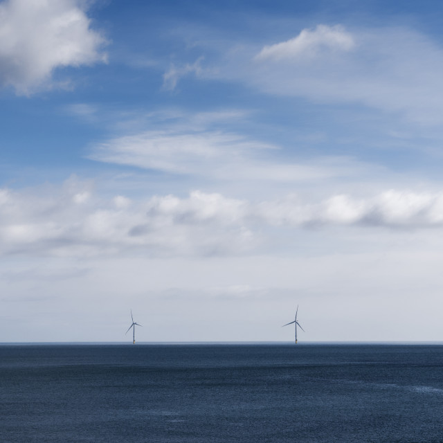 """""""Windfarm in North East England with copy space"""" stock image"""