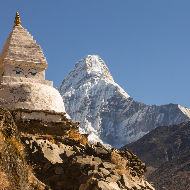 """Ama Dablam and a chorten"" stock image"