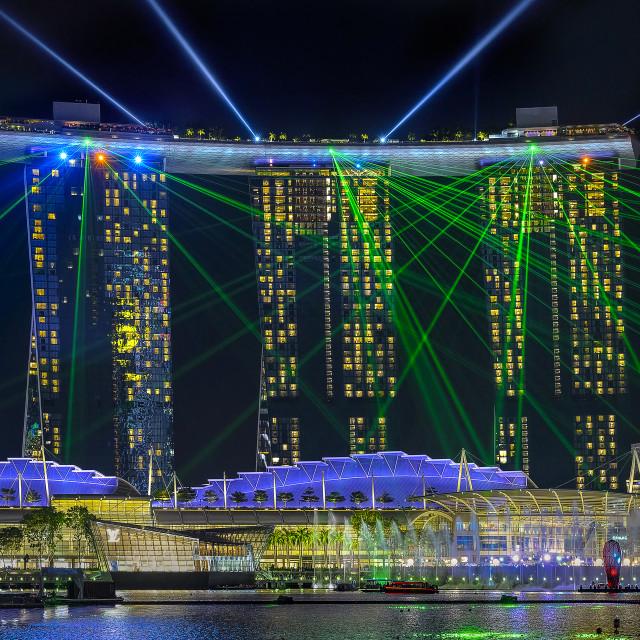 """Marina Bay Sands Lightshow"" stock image"