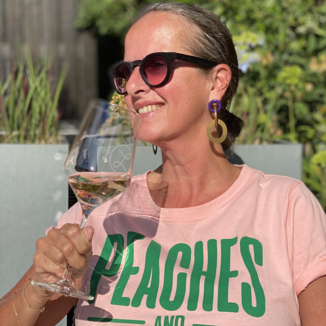 """""""Woman drinking a glass of rose wine 2"""" stock image"""