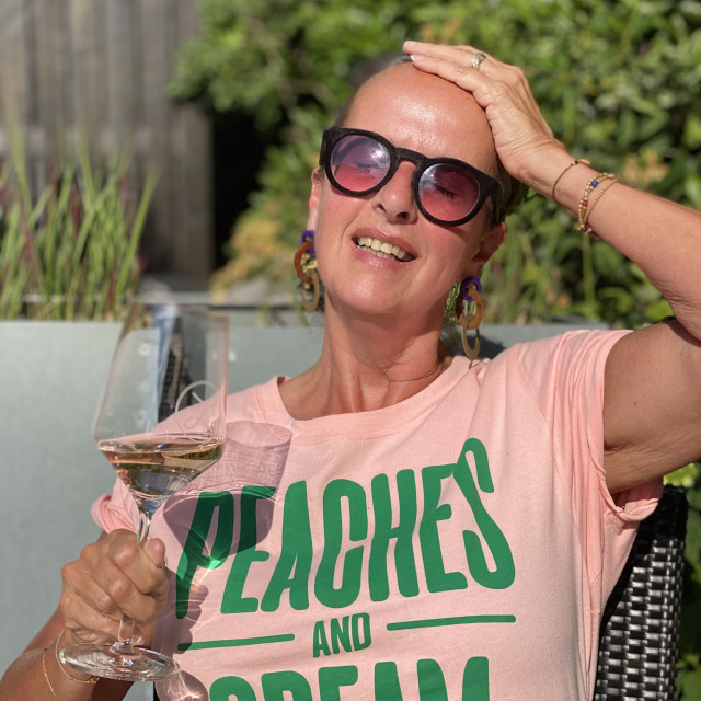 """""""Woman drinking a glass of rose wine 3"""" stock image"""
