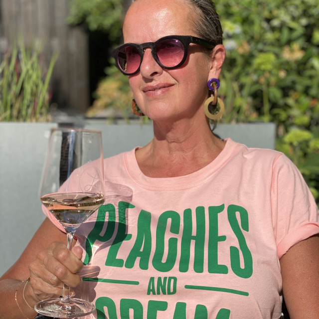 """""""Woman drinking a glass of rose wine 1"""" stock image"""