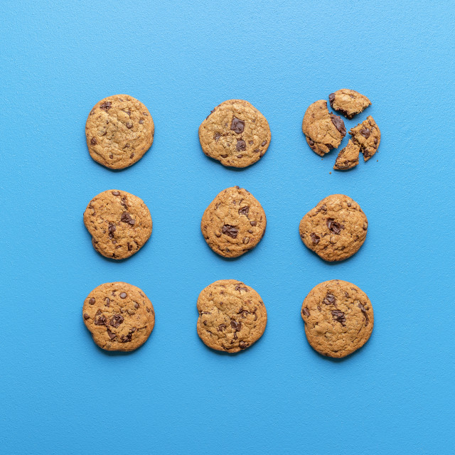 """""""Chocolate chip cookies symmetrically aligned. Homemade cookies"""" stock image"""